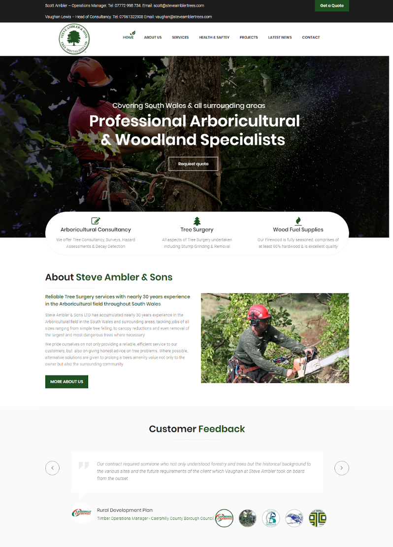 steveamblertrees ltd new website